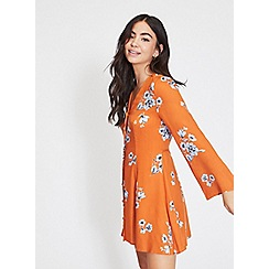 Miss Selfridge - Petite rust button floral tea dress