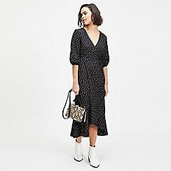 Miss Selfridge - Petite black multi spot midi dress