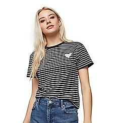 Miss Selfridge - Petite heart striped t-shirt