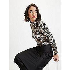 Miss Selfridge - Petite Tan Zebra Print Roll Neck Top