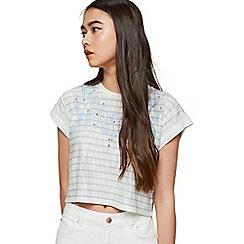 Miss Selfridge - Petite cutwork trim striped t-shirt