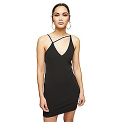 Miss Selfridge - Petite black asymmetric going out bodycon dress