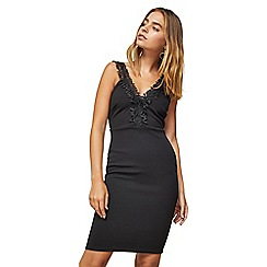 Miss Selfridge - Petite black crochet trim midi bodycon dress