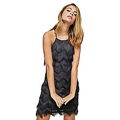 Miss Selfridge - Petite black feather slip dress