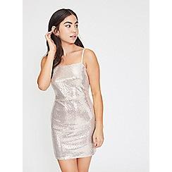 Miss Selfridge - Petite silver sequin square neck slip dress