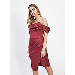Miss Selfridge - Petite burg scuba bardot dress