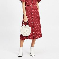Miss Selfridge - Petite burgundy spotted midi skirt