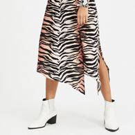 Miss Selfridge - Petite orange and black ombre tiger print midi skater skirt f5eca4f69