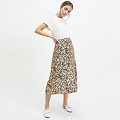 Miss Selfridge - Petite Brown Assymetric Animal Print Midi Skirt