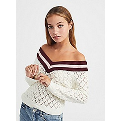 Miss Selfridge - Petite cream bardot knitted jumper