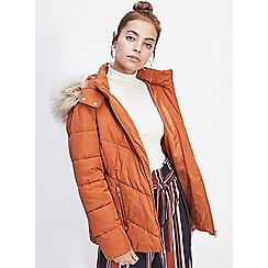 Miss Selfridge - Petite rust puffer coat