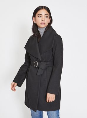 Miss Selfridge   Petite Black Wrap Coat by Miss Selfridge