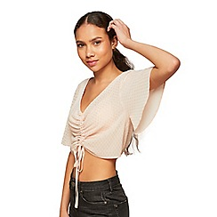 Miss Selfridge - Petite shimmer ruched blouse