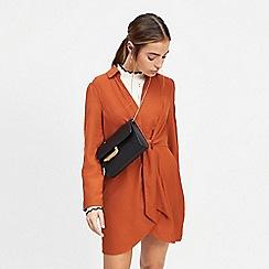 Miss Selfridge - Petite rust twisted tunic dress