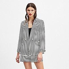 Miss Selfridge - White striped rib notch sleeves blazer