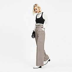 Miss Selfridge - Brown check belted wide leg trousers
