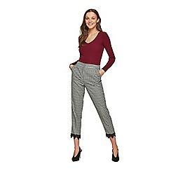 Miss Selfridge - Check lace hem trousers