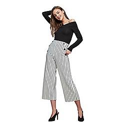 Miss Selfridge - Stripe button crop wide leg trousers