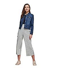 Miss Selfridge - White striped cropped wide leg trousers