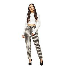 Miss Selfridge - Grey stripe paperbag trousers