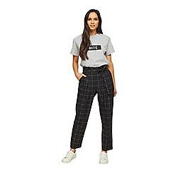 Miss Selfridge - Black check paperbag trousers