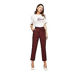 Miss Selfridge - Burgundy paperbag trousers