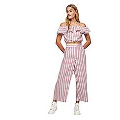 Miss Selfridge - Red linen striped crop wide leg trousers