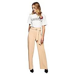 Miss Selfridge - Camel tie waist wide leg trousers