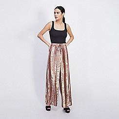 Miss Selfridge - Pale pink velvet stripe wide leg joggers