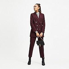 Miss Selfridge - Burgundy ankle split cigarette trousers