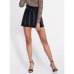 Miss Selfridge - Black pleated paperbag velvet shorts