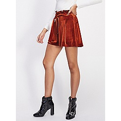 Miss Selfridge - Rust tie front velvet shorts