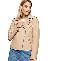 Miss Selfridge - Camel nubuck biker jacket