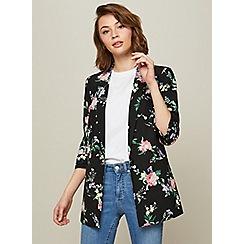 Miss Selfridge - Floral ruched sleeve blazer