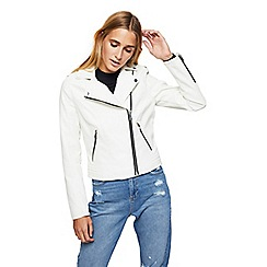 Miss Selfridge - White debbie biker jacket