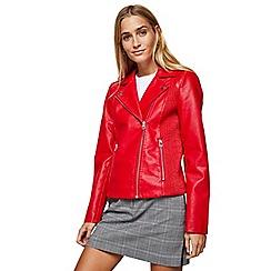 Miss Selfridge - Red ribbed side biker jacket