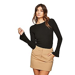 Miss Selfridge - Camel side stripe mini skirt