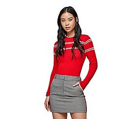 Miss Selfridge - Check side stripe mini skirt