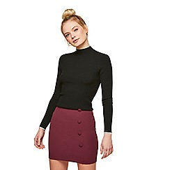 Miss Selfridge - Burgundy button wrap skirt