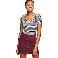 Miss Selfridge - Burgundy button through skirt