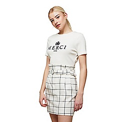 Miss Selfridge - Ivory checked ring detail mini skirt