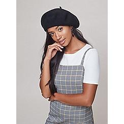 Miss Selfridge - Black plain beret hat
