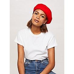 Miss Selfridge - Red plain beret hat