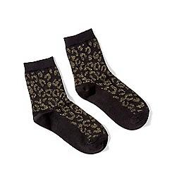 Miss Selfridge - Black leopard print lurex socks
