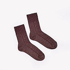 Miss Selfridge - Burgundy lurex rib socks