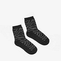 Miss Selfridge - Black zebra lurex socks