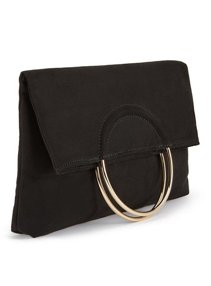 Selfridge bag clutch fold Miss circle metal Black over w0OnqqRYdz