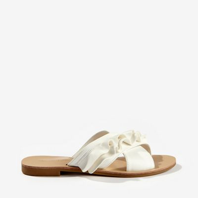 68bb6d392677 Miss Selfridge Erina White Ruffle Sandals