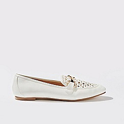 Miss Selfridge - Freesia white woven loafers