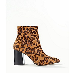 Miss Selfridge - Tan abi leopard print ankle boots